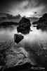 The Fisherman (Kiall Frost) Tags: ocean bw white seascape black water sunrise fishing fisherman rocks australia nsw fingalbay kiallfrost