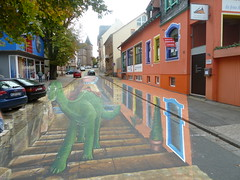 3D street art (micky the pixel) Tags: kunst art streetart strassenmalerei strasse street painting graffiti 3d dinosaurier saurier stwendel saarland deutschland germany urbanart