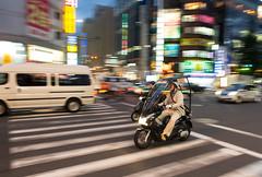 Shinjuku Biker (Warriorwriter) Tags: city people motion japan speed photography japanese tokyo movement shinjuku skyscrapers shibuya metropolis roppongi ward prefecture metropolitan megacity