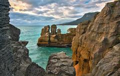 Pancake Rocks NZ (Xuberant Noodle) Tags: ocean new sunset beach rock rocks cliffs zealand pancake hdr