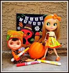 Orange you giving THANX for Blythe? (beans don't burn on the grill) Tags: thanksgiving november gourds turkey pumpkins squash coloring kenner blythe acorns eurotrash gobblegobble blackvelvet bl kachina dropsy ifyouplease crayolamarkers mondie mattemondrian picturepages houseofpinku indianspwnthepilgrims shittydiapers poofillednappies atriptothedump yourplasticandyou aposterofaturkeywearingahat