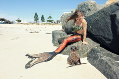 By Peppi Portraits (peppiportraits) Tags: sea beach train hair jetty tail wave seal blonde mermaid busselton