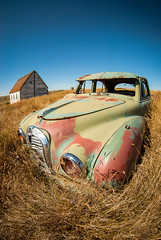 Faithful Driver (Wayne Stadler Photography) Tags: old abandoned broken field car rural austin countryside rust automobile decay ghost rusty saskatchewan discarded derelict neidpath canadaweathered