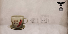 Lark - Bird Nerd - Coffee Cup ((✿◠‿◠) Sienia) Tags: birds watercolor book calendar mesh cardinal desk furniture coffeecup sl binoculars secondlife eggs blender decor notepad lark 3dmodeling notepaper homeandgarden oldchair slocca geeksnnerds