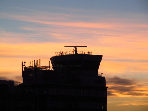 Sunrise Behind The Old Control Tower At Manchester Airport