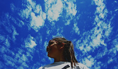 blue sky (carleigh~) Tags: travel blue friends summer sky white nature girl smile clouds contrast pretty natural bright tan fluffy tshirt ponytail