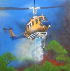 Tony (Quarrie Photography) Tags: blue rural painting fire j smoke australia tony canvas helicopter h nsw newsouthwales aerosol emergency fires fundraising fundraiser heli bushfires mcdermott bushfire hooke airlift springwood rfs nswrfs frnsw nswfires ausction