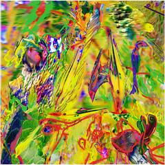 Garden Birds (Tim Noonan) Tags: digital photoshop drawing texture colour birds garden yellow abstract awardtree ultramodern