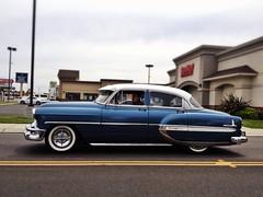 Moody Blues (misterbigidea) Tags: auto blue urban white classic chevrolet belair beauty car vintage landscape cruising chevy hotwheels hotrod commuter stockton cruiser 1953 twotone