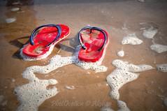 Flip Flop (PhotOvation) Tags: blue red india beach water sand flickr surf flipflop strip slipper sandle sunandsand redbottom bluestrip chorwad sandandbeach photovation