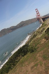 Tilted (takenbygabi) Tags: ocean sf california ca city bridge red sea plant west green water grass rock cali gold golden bay coast gate san francisco rocks angle marin salt perspective shift dry ground line east hills drought area headlands tilt bushes tilted daly rotate