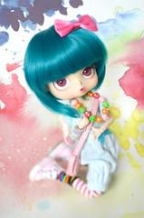 Appoline - Byul Paulia (Nickocha) Tags: pink blue cute green colors necklace teal wig converse kawaii paulia obitsu colore byul nickocha