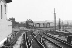 K 32345 in store at Three Bridges, 21 July 1963 (Ian D Nolan) Tags: film station k railway sr 260z 32345 lbsc agfaisoletteiii threebridgesstation epsonperfectionv750scanner threebridgesshed threebridgesdump