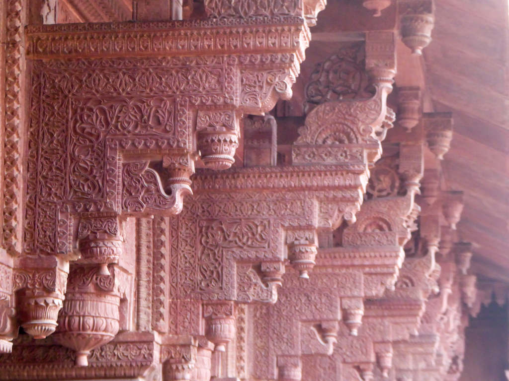 Detailed carvings at the Red Fort