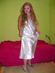 Satin nightdress (Paula Satijn) Tags: sexy girl beauty lady hair shiny gorgeous silk blonde satin silky nightgown nightdress nightie