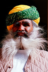 portrait India (ichauvel) Tags: travel portrait india man face eyes asia expression yeux moustache asie turban rajasthan homme inde mustaches bacchantes