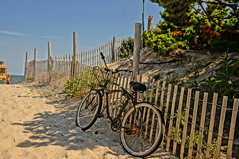 Bike to beach at LBI NJ (baumann.bill) Tags: beach bike bicycle fence newjersey dune lbi longbeachisland shore jerseyshore beachcruser