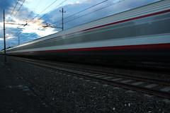 Train (Enrico Carpi) Tags: sunset clouds train fast freccia imola rossa