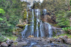 Bridal Veil Falls @ Lemonthyme (myshutterworld) Tags: mountain sunshine landscape waterfall rainforest veil under smooth australia down falls lodge retreat tasmania wilderness bridal tassie hdr silky cradle lemonthyme moina