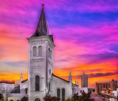 Reworked HDR Methodist Church (gotmyxomatosis69) Tags: sunset sky color church canon downtown huntsville alabama steeple hdr methodistchurch colorfulsunset churchsteeple huntsvilleal skyporn hdrsunset downtownhuntsville