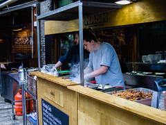 Fast Food being made slowly (wi-fli) Tags: england food london cooking market unitedkingdom fastfood stall borough hash
