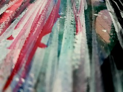 Strokes on a canvas (Srividya Balayogi) Tags: pink white abstract macro green art lines painting paint details canvas watercolours