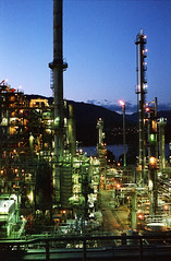 Chevron Refinery (Orion Alexis) Tags: plant film night vancouver analog 35mm evening kodak gas 400 oil fujifilm analogue cinematic chevron refinery xpan ultramax tx1