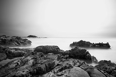 Rock, Water & Sky (Rohit KC Photography) Tags: ocean california ca longexposure sea sky blackandwhite bw usa white seascape black beach water rock canon landscape marine 10 highcontrast patient pacificocean stop filter le nd patience ndfilter sliky canon24105mmf4l canon5dmarkii