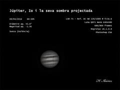 Jpiter, Io y su sombra proyectada (valitrenta) Tags: mono solar luna system planet jupiter refractor lxd75 acromatic qhy5 sw12001000