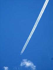 Heading off (wilwilwilsonsonson) Tags: blue plane airplane contrail aircraft bluesky aeroplane simplicity airbus a380 minimalism