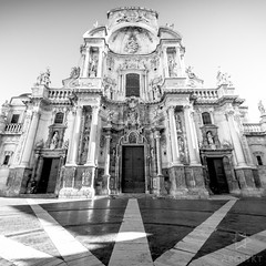 Facade - Cathedral of Murcia (archtkt) Tags: life city travel urban bw white black building tourism monochrome architecture facade religious spain worship europe view place angle traditional faith religion wide perspective landmark front architectural murcia destination spirituality elevation feature archtkt