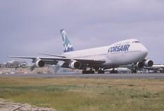 49ai - Corsair Boeing 747-200; F-GLNA@SXM;04.02.1999 (Aero Icarus) Tags: plane saintmartin aircraft flugzeug sxm avion slidescan princessjulianainternationalairport