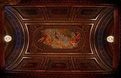 New York Public Library (Mark Liddell) Tags: new wood york city nyc newyorkcity travel roof newyork window public architecture clouds lights carved mural arch panel manhattan library painted newyorkpubliclibrary grand landmark ceiling chandelier angels framing newyorkcitypubliclibrary