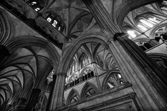 Salisbury Cathedral (Crisp-13) Tags: roof white black monochrome arch cathedral ceiling salisbury inside