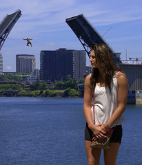 Jumper (swong95765) Tags: bridge woman man cute female river jump funny humor drawbridge foreground