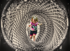 tunnel of dreams (MjZ Photography) Tags: blackandwhite baby abstract cute girl zoo climb toddler child little daughter tunnel rope course babygirl ropes obstacle narrative leighton johnballzoo