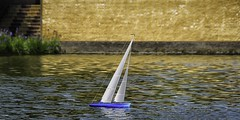 Model RC sailboat in action