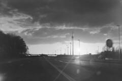 Sunset on the Highway (Robin Geys) Tags: sunset 2 windmill kodak no brownie hawkeye ilford fp4 cartridge 125
