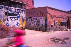 Graffiti and speed @ Marrakech (PaulHoo) Tags: film analog velvia fujifilm color saturized saturization 2016 marrakech marocco africa city urban contax t2 lightroom scan 35mm medina streetart movement graffiti street contrast ilobsterit