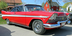 1957 Plymouth Belvedere (crusaderstgeorge) Tags: cars sweden plymouth chrome 1957 belvedere sverige classiccars americancars sandviken redcars gvleborg americanclassiccars 1957plymouthbelvedere granssonarena amerikanskabilar arenawheels americancarsinsweden crusaderstgeorge