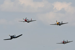 Four fighter flyby (Mustang, mustang, Corsair, Warhawk) (albionphoto) Tags: usa reading kate pa b17 worldwarii mosquito corsair mustang fifi dday flyingfortress flyby b29 superfortress maam dehavilland p51d warhawk