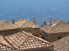 Roofs and sea. (kostakai) Tags: roof sea seascape hellas greece tiles monemvasia