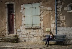 Waiting (Sally Dunford) Tags: waiting chartres girlonbench canon1755mm canon7d sallyfrance2016 sallyjune2016