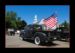 1954 Chevy Pickup (Peter Camyre) Tags: show street blue sky church beautiful car truck canon lens ma photo colorful flickr state image flag massachusetts group picture progress pickup 1954 peter chevy american 5d restoration mass granby process 3100 mkiii camyre ef2470f28liiusm