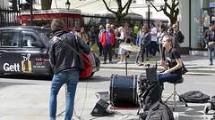 Band on the Strand (moley75) Tags: london strand couple duo central drummer busking charingcross guitarist indiekids nameunknown duncannonstreet femaledrummer malevocal maleguitarist