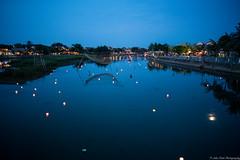 Floating Lantern (jkpark78) Tags: 2016 sonya7rii vietnam travel sony sonyimages a7r2 zeiss 25mm evening dusk blue hour lantern festival hoi an river low light fish net full moon