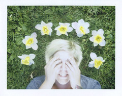 Day 058 (H o l l y.) Tags: fuji100c fuji film analog medium format instant photo memory maker polaroid self portrait girl flowers grass smile summer hands blonde fashion retro indie vintage relaxed happy played good