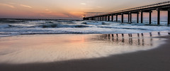 Start of a Beautiful Day (pooroldtim) Tags: ocean seascape color beach sunrise reflections landscape dawn pier nikon waves outerbanks obx nikond810 140240mmf28