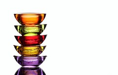 High Five (Karen_Chappell) Tags: red stilllife orange white green glass yellow purple 5 five stack colourful curve