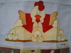 Galinha. Família em oração. (Pintura em tecido. Panos de prato.) Tags: